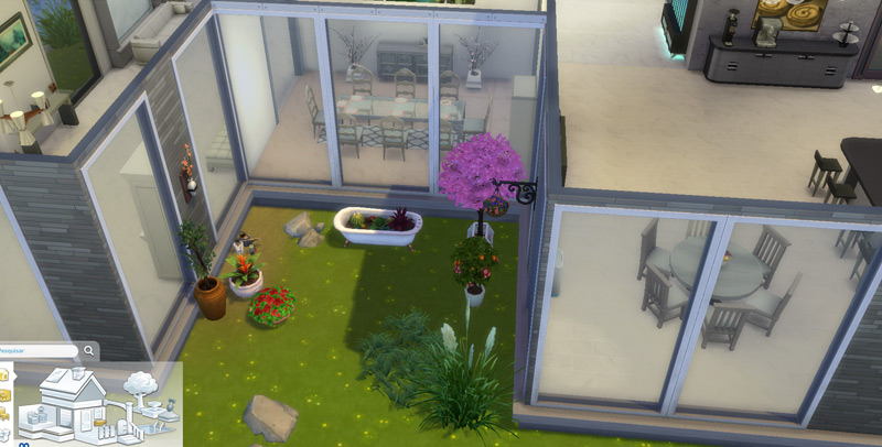 Sala de jantar com vista pro jardim - Virei arquiteta / decoradora no The Sims 4
