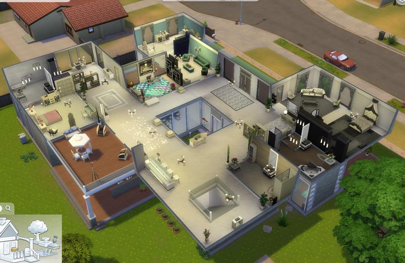 Segundo andar da mansão moderna - Virei arquiteta / decoradora no The Sims 4