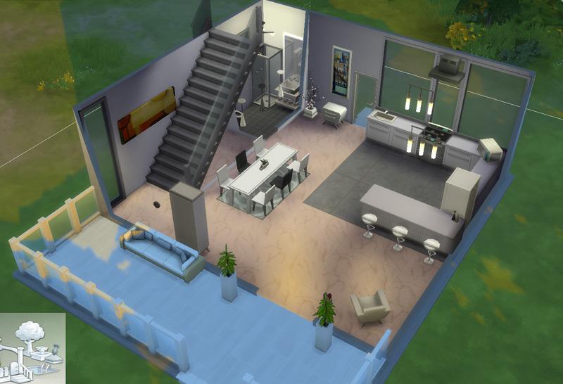 Primeiro andar da casinha moderna - virei arquiteta / decoradora no The Sims 4