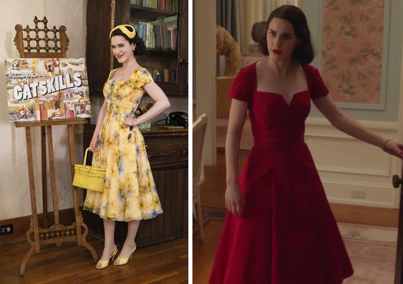 Mrs Maisel vestido amarelo e vestido vermelho