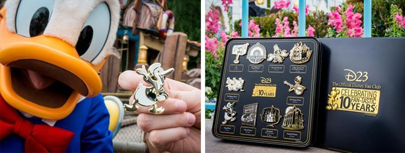 Pato Donald e seu pin comemoratico.